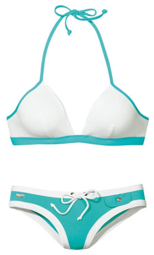 Tyrkysovo-bílé dámské plavky Buffalo
