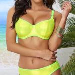 Žluté neonové dámské plavky pro větší poprsí