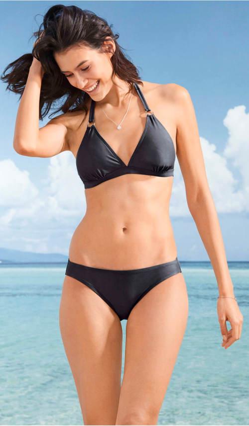 Jednoduché černé dámské jednobarevné plavky