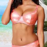 Lesklé růžové plavky vhodné i pro větší poprsí