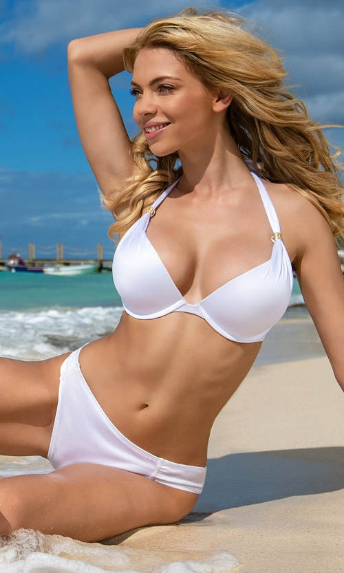 Jednobarevné bílé dámské dvoudílné plavky Dorina Jamaica