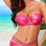 Lesklé růžové plavky s trendy strappy pásky