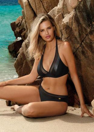 Černé dvoudílné plavky s průsvitnými a koženými vsadkami