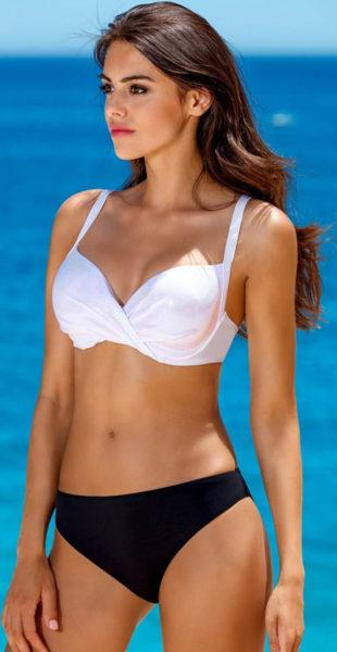 Dámské plavky bílá podprsenka, černé kalhotky