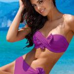 Fuchsiové bezramínkové plavky s výraznými mašlemi
