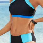 Levné sportovní dvoudílné plavky pro plnoštíhlé