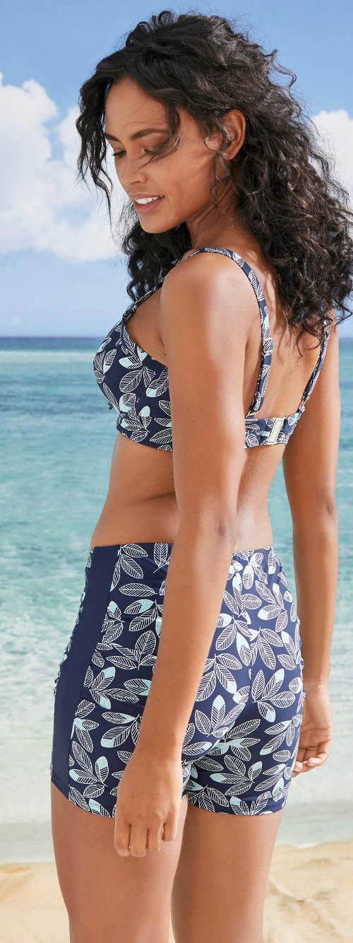 Modré květinové plavky s nohavičkou