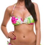 Zářivé neonové dámské plavky s květinovým motivem