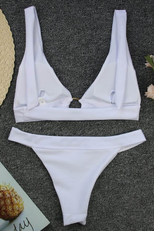 Bílé dvoudílné plavky s možností vložení vycpávek