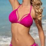 Sytě růžové krajkové dámské dvoudílné plavky
