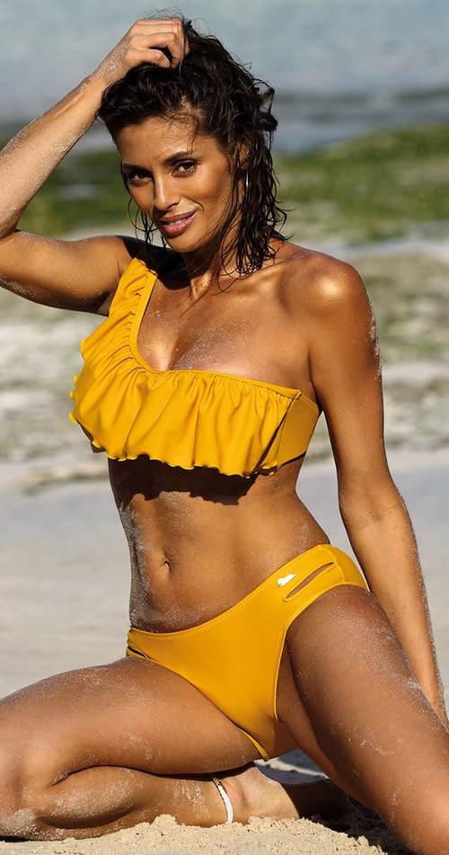 Žluté jednoramínkové dámské plavky s volánkem přes prsa