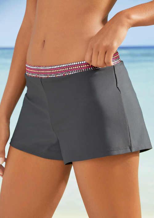 Šedé dámské koupací šortky s elastickým pasem
