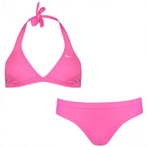 Růžové bikiny Nike s ramínky za krk