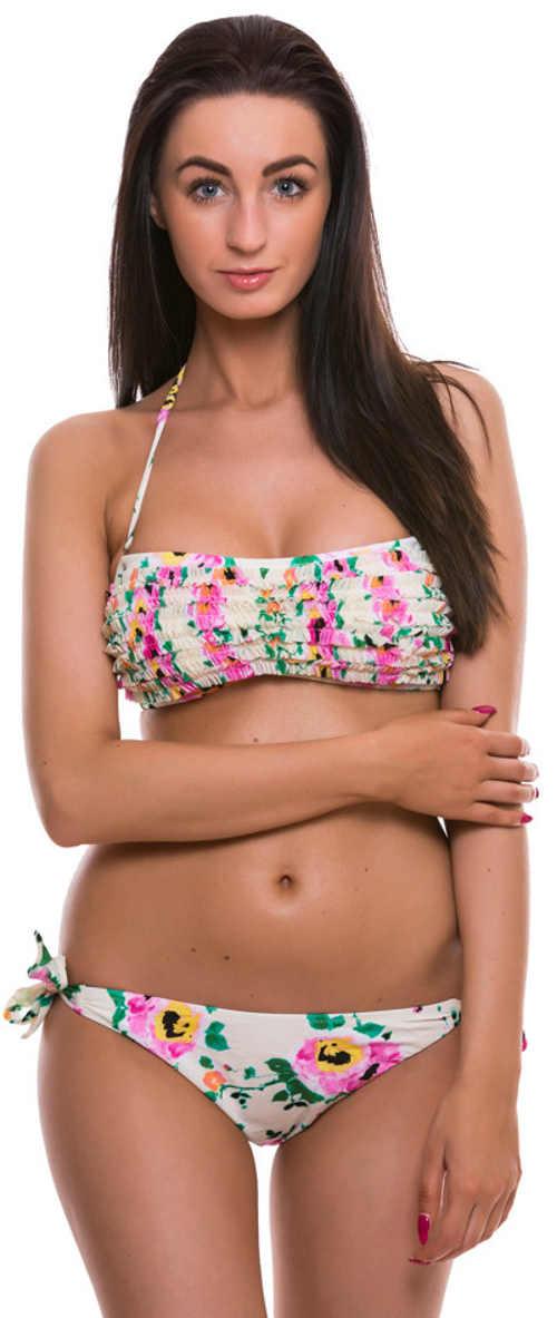 Bílé květinové bandeau plavky s drobnými volánky a brazilskými kalhotkami