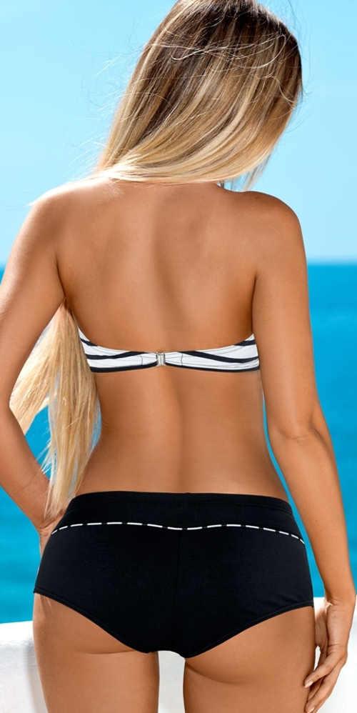 Černobílé dámské plavky s odnímatelnými ramínky