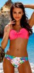 Dámské dvoudílné plavky s růžovou podprsenkou a mašlí