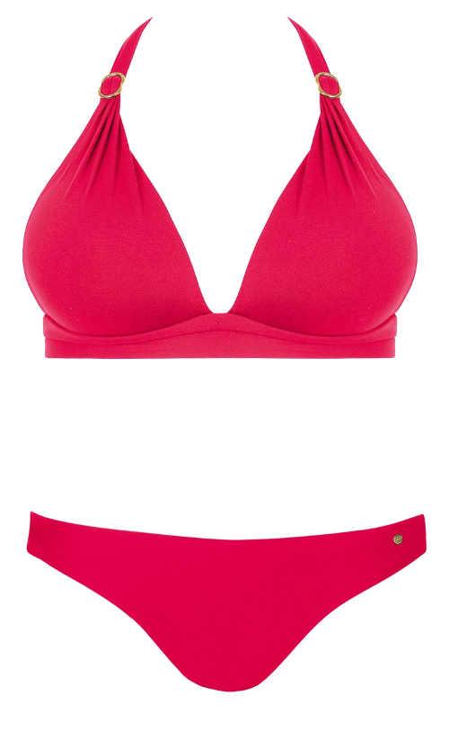 Jednobarevné růžové dvoudílné plavky s ramínky za krk