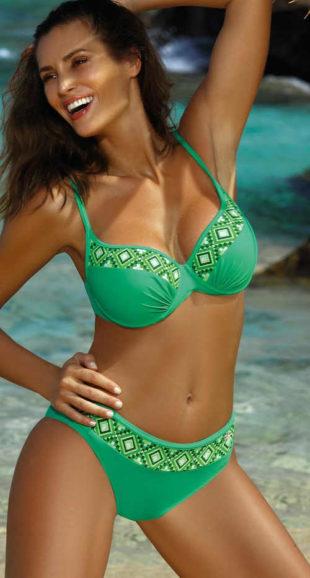 Zelené dámské glamour dvoudílné plavky