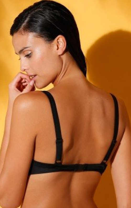 Černá plavková podprsenka s vyztuženými košíčky