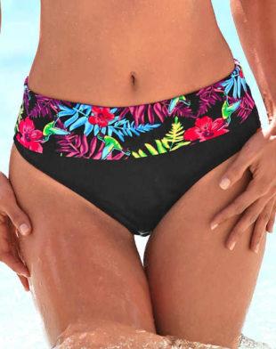 Dámské plavkové slipové kalhotky s vyšším ohrnovacím pasem