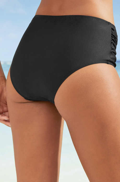 Jednobarevný černý spodní díl dvoudílných plavek s vysokým pasem