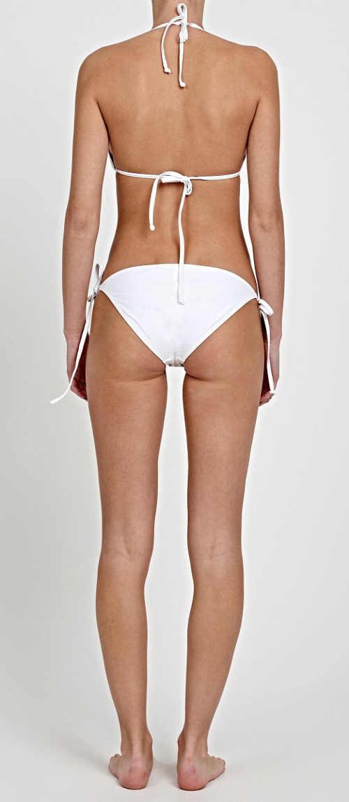 Bílé dámské dvoudílné plavky s výšivkou