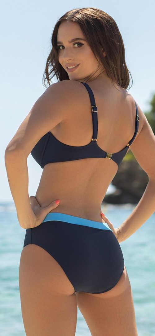 Sportovní modré dvoudílné plavky pro plnoštíhlé