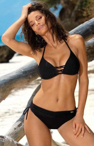 Jednobarevné černé plavky s elastickými strapsy