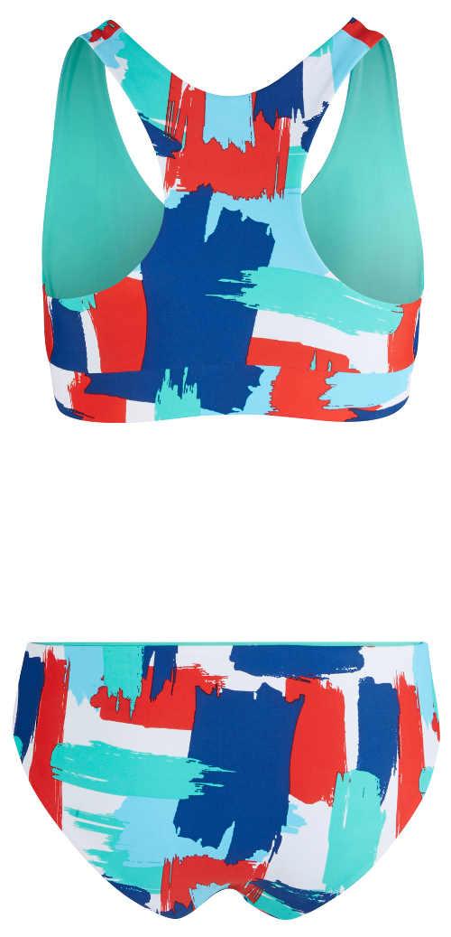 Vzorované pestrobarevné dámské plavky sportovního střihu