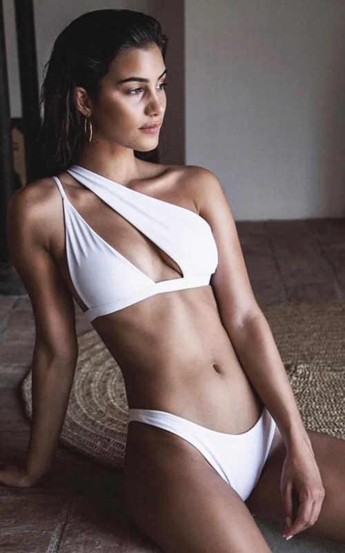 Atypické dámské dvoudílné plavky s ramínky na jedno rameno