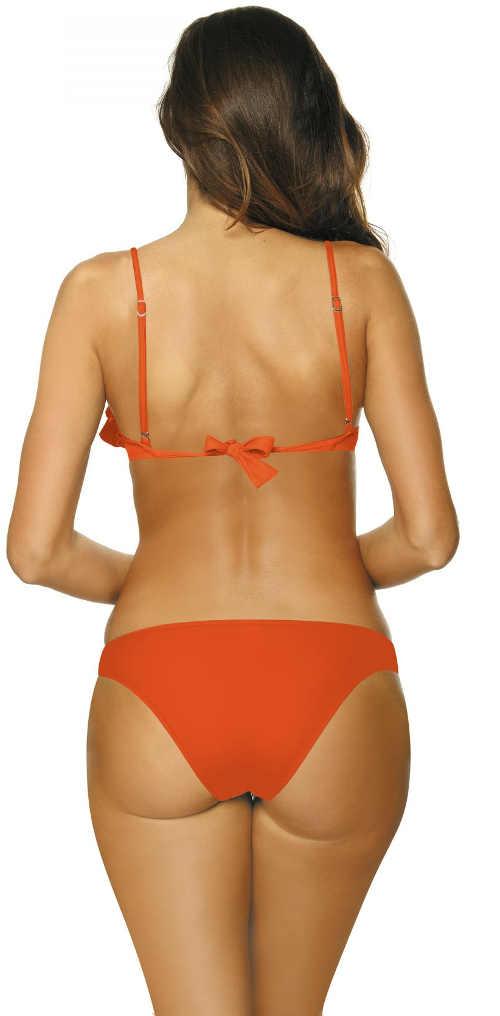 Jednobarevné oranžové dámské dvoudílné plavky
