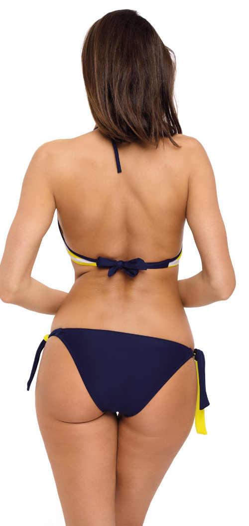 Modré dámské dvoudílné plavky s kalhotkami se zavazováním na bocích