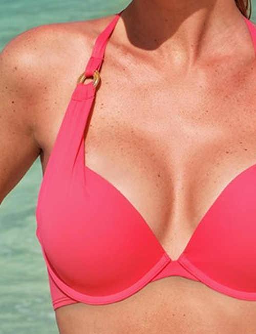 Růžová plavková podprsenka s výrazným push-up efektem