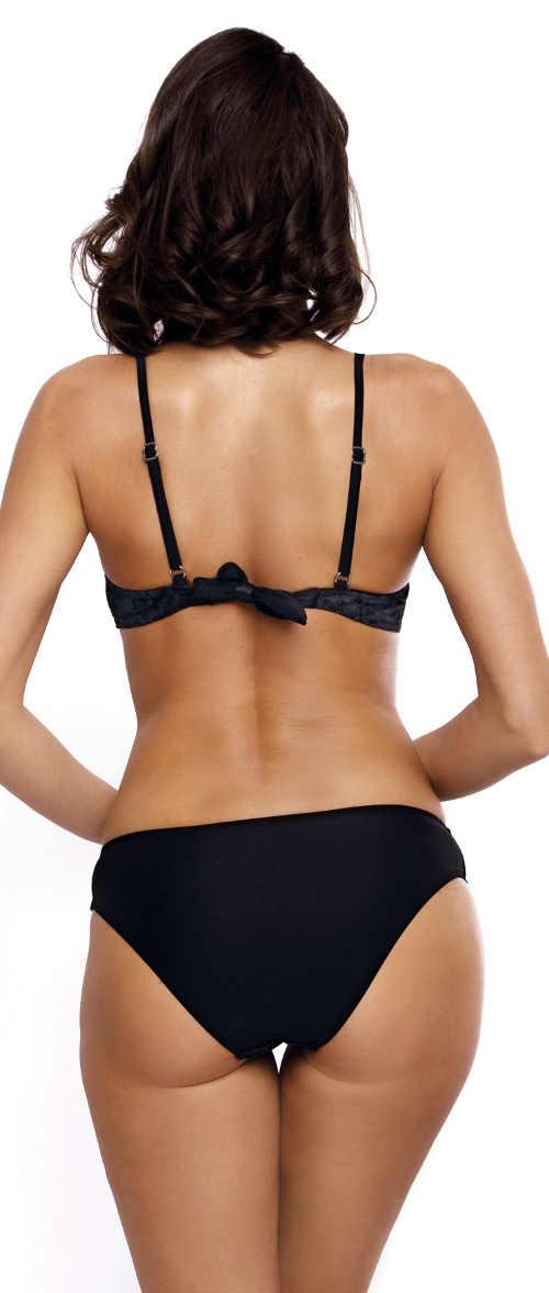 Černé dámské dvoudílné plavky z lesklého sametu