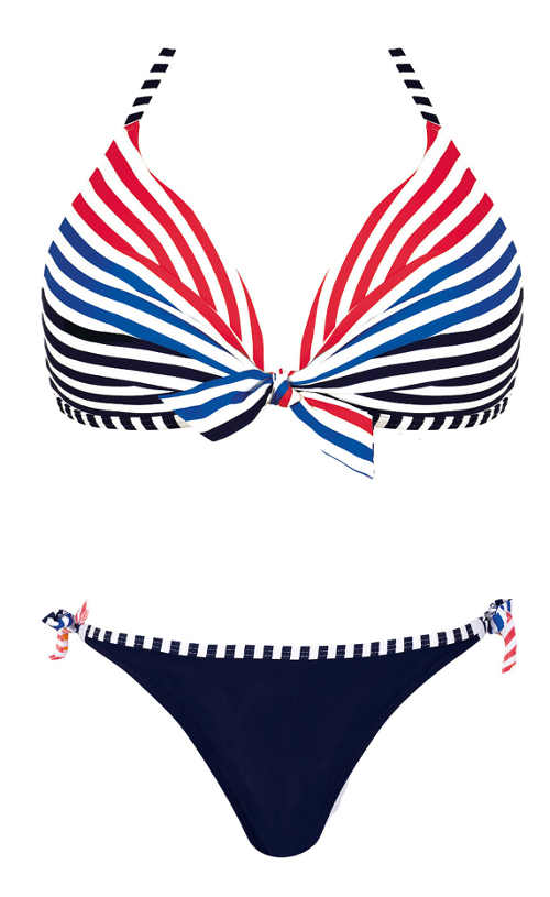Červeno-modré pruhované dvoudílné dámské plavky námořnický styl