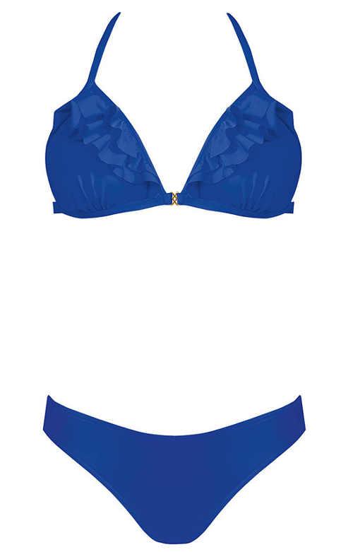 Modré dámské dvoudílné plavky s volánky