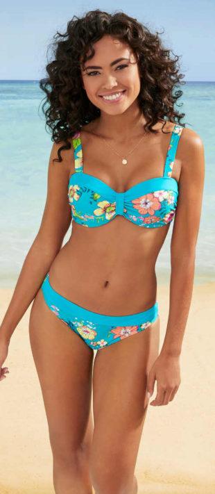Tyrkysové dámské dvoudílné plavky s květinovým potiskem Bonprix 2020