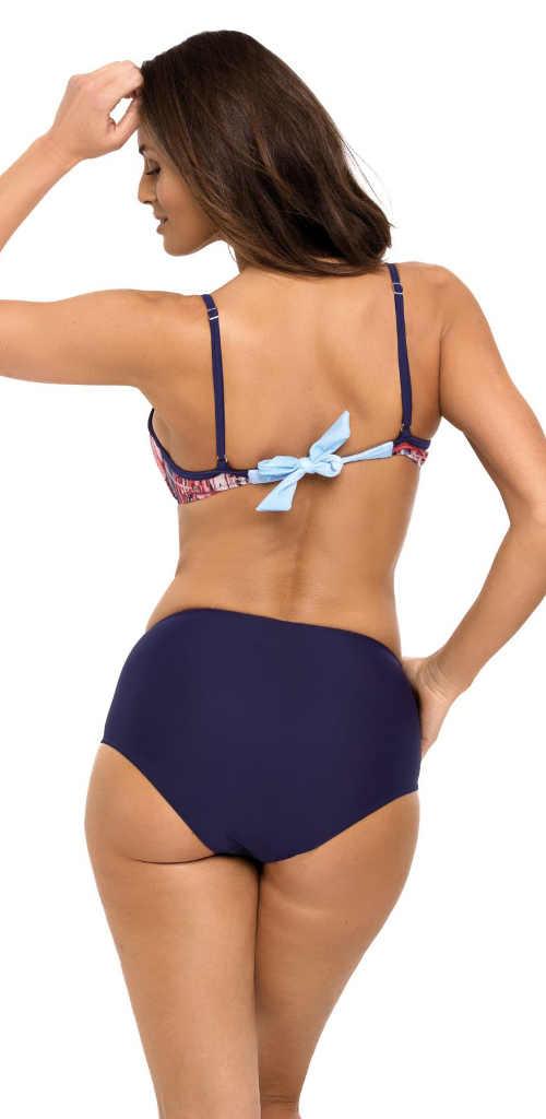 Dvoudílné plavky s vyššími modrými kalhotkami a velkou mašličkou na zádech