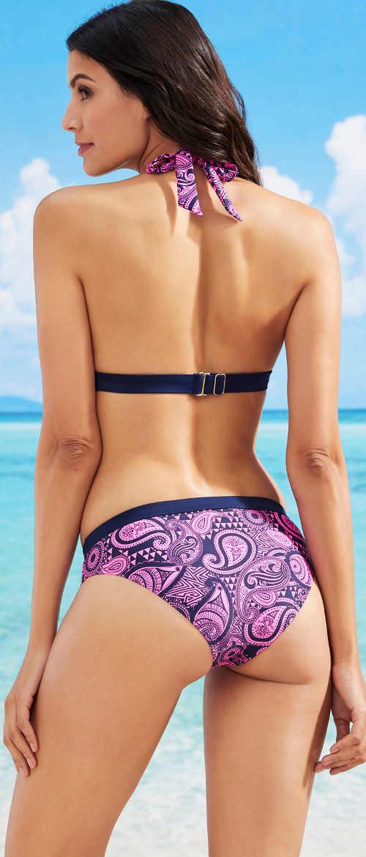 Fialové dámské dvoudílné plavky s ramínky kolem krku