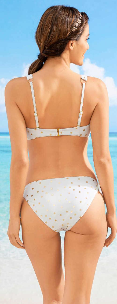 Honosné dámské plavky se zlatými puntíky