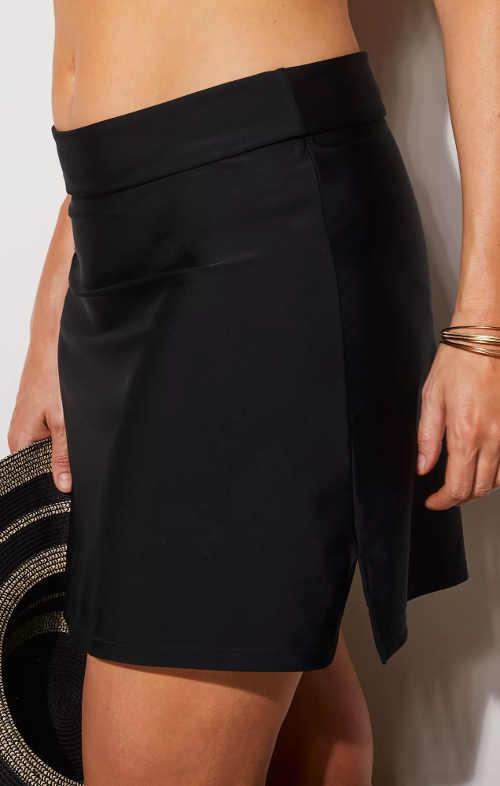 Jednobarevná černá dámská koupací sukně