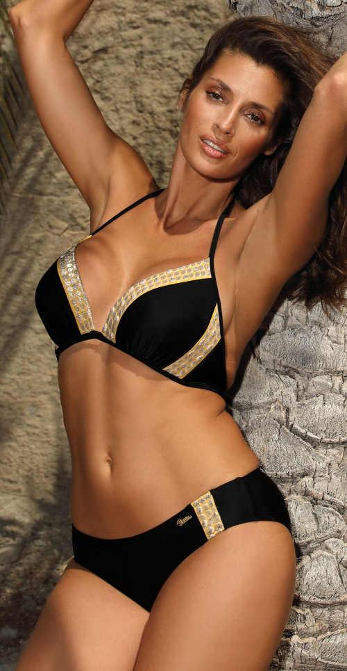 Luxusní černo-zlaté dvoudílné plavky s push-up vycpávkami