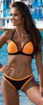 Oranžovo-černé dvojdílné plavky s vyztuženými push up košíčky