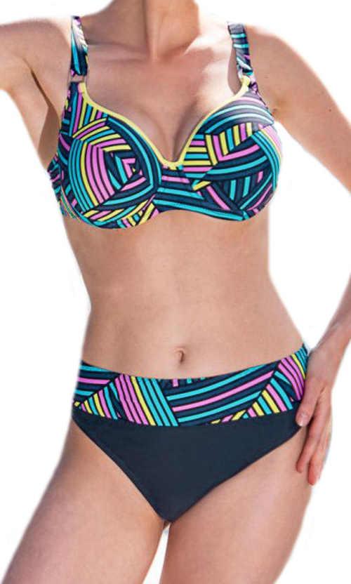 Vzorované pestrobarevné dámské plavky Timo s kosticí
