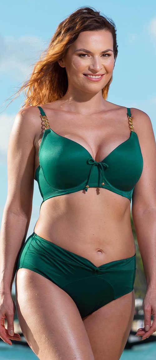 Zelené dvoudílné plavky pro plnější dekolt