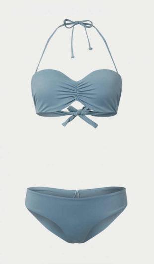 Moderní dámské dvoudílné plavky na zavazování v modrém provedení