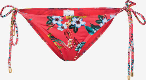Červený spodní díl plavek s květinovým potiskem