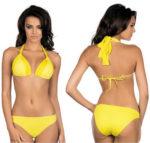 Kanárkově žluté dámské dvoudílné plavky s ramínky za krk