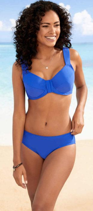 Modré zmenšovací dvoudílné plavky pro ženy s velkým poprsím
