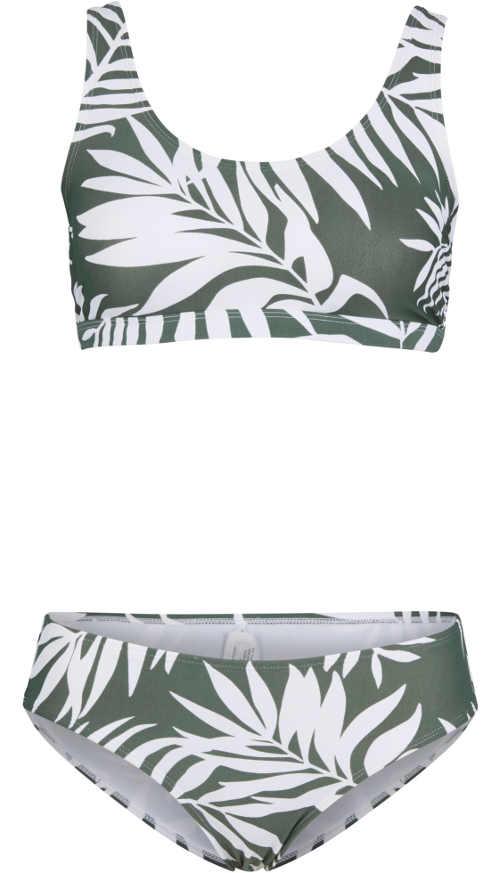 Šedo-bílé květované dámské dvoudílné plavky se sportovním topem